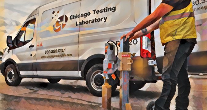 Chicago Testing Laboratory worker and van